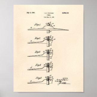 Pôster Arte Peper velho da patente dos pratos 1951
