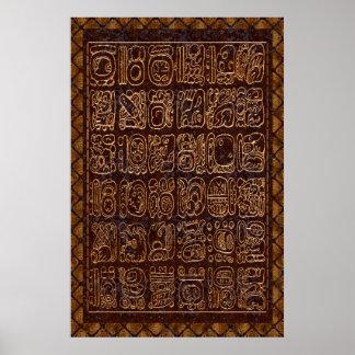 Pôster Arte popular maia da folha do painel dos