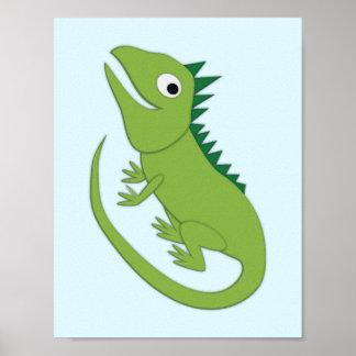 Poster Arte simples do berçário da iguana