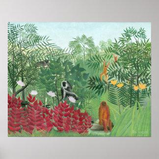Poster Arte tropical restaurada da selva de Henri
