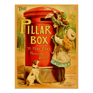 Poster Arte vermelha do cartão do correio da caixa de