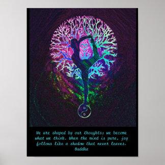 Poster Árvore da ioga - citações de Buddha