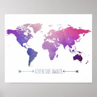 Poster as aventuras esperam o mapa da aguarela, mundo