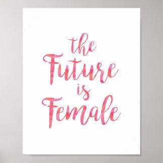 Pôster As citações feministas cor-de-rosa o futuro são