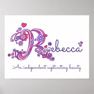 Poster As meninas de Rebecca da arte do monograma de R