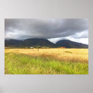 Pôster As montanhas aproximam Lahaina, Maui, Havaí