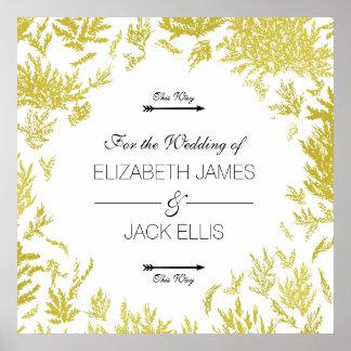 Poster As setas elegantes do Signage do casamento do ouro
