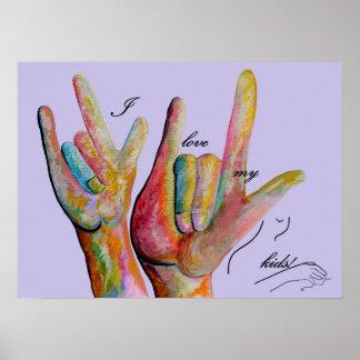 Pôster ASL eu amo meus miúdos