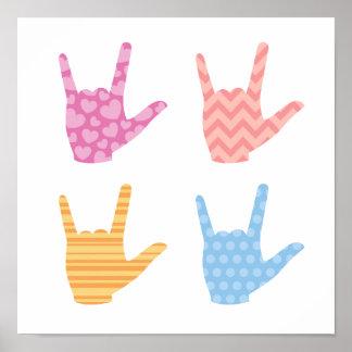 Pôster ASL eu te amo em cores & em padrões do linguagem