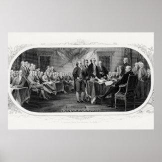 Pôster Assinando a declaração de independência - Trumbul