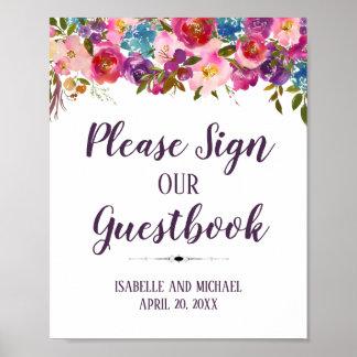 Poster Assine por favor nosso sinal do Guestbook 8x10 do
