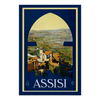 Poster Assisi Italia das viagens vintage