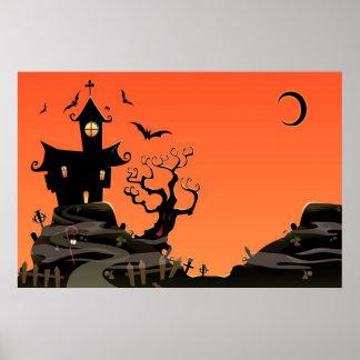 Poster assombrado da casa do Dia das Bruxas