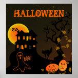 Poster assombrado do Dia das Bruxas da casa