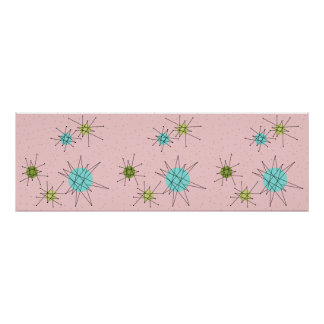 Poster atômico icónico cor-de-rosa de Starbursts