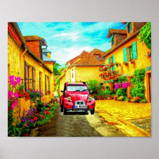 Poster Au queConduz através de uma vila na arte de France