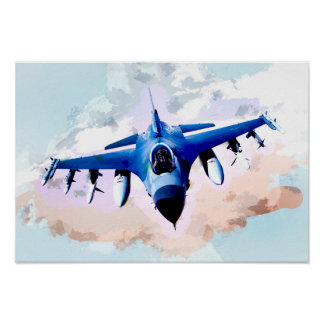 Pôster Avião de combate na pintura do céu