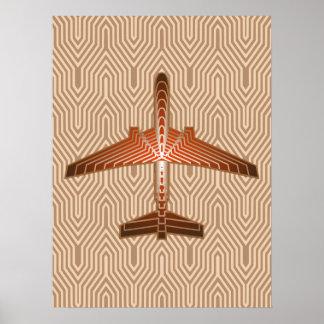 Pôster Avião do art deco, bronze, ouro e oxidação Brown