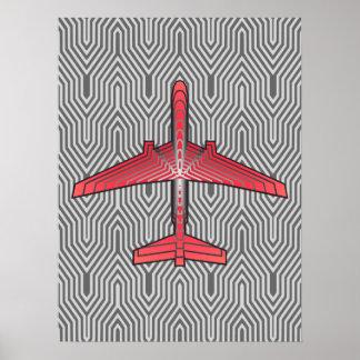 Poster Avião do art deco, cinzas alaranjadas e de prata