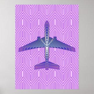 Poster Avião do art deco, cinzas roxas e de prata