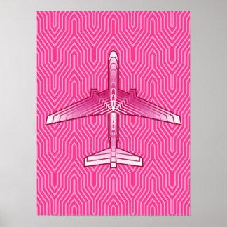Pôster Avião do art deco, fúcsia e rosa Pastel