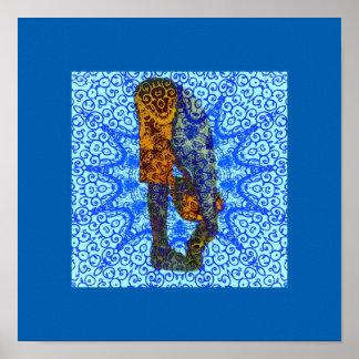 Poster azul boémio da ioga pôster