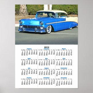 Poster azul clássico do calendário do carro 2012