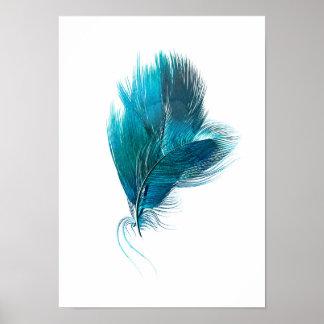 Poster azul da aguarela da pena