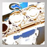 poster azul da flauta