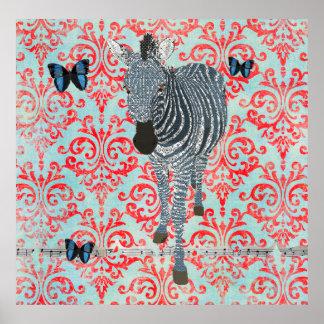 Poster azul da zebra de Boho do damasco das borb
