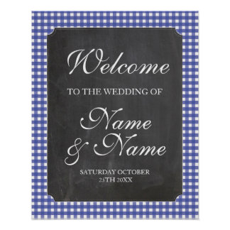 Poster azul do casamento do sinal da verificação