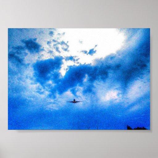 poster azul do céu do avião