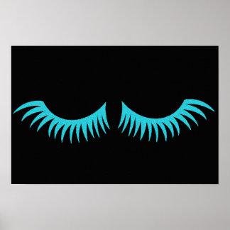Poster azul do partido das pestanas da cerceta