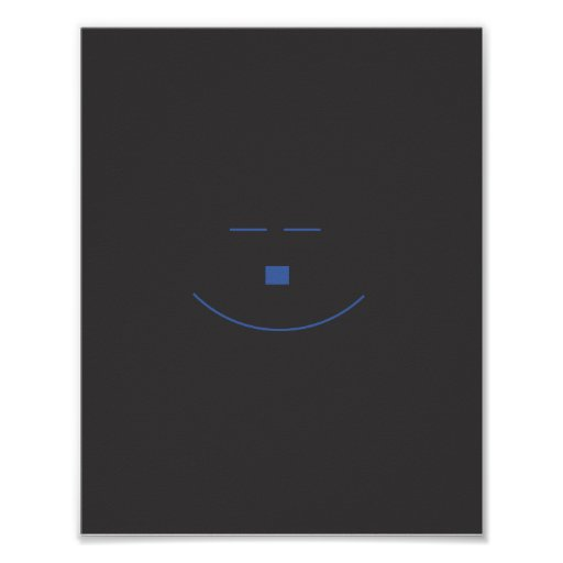 Poster azul do sorriso da cara