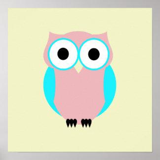 Poster azul e cor-de-rosa bonito da coruja