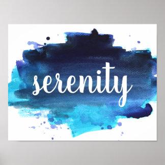 Poster azul e preto da aguarela da tipografia do