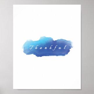 Poster azul grato da nuvem, arte moderna da parede