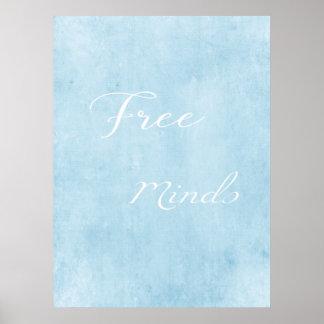 Poster azul moderno das mentes livres pôster