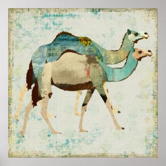 Poster azul sonhador da arte dos camelos pôster