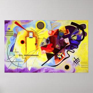 Poster azul vermelho amarelo de Kandinsky Pôster