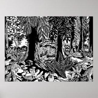 Poster B da arte da paisagem & impressão de