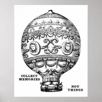 Pôster Balão de ar quente do vintage