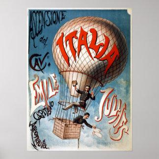 Poster Balão de Vintage Ascensão del Cavaliere Cedo