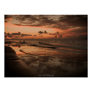 Poster báltica pôr do sol - praia pôster