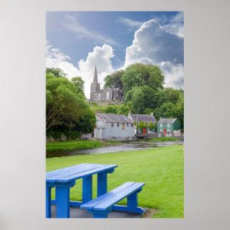 Poster banco azul no parque do castletownroche
