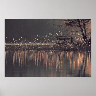 Poster Banco só pelo lago na madeira clara dourada