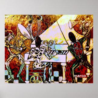 Poster Banda que joga a música jazz na arte do jazz do