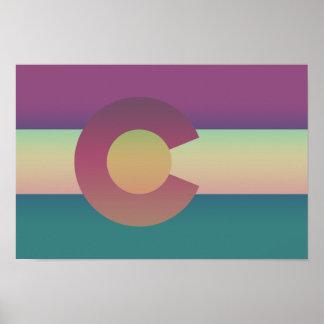Poster Bandeira de Colorado - colorida