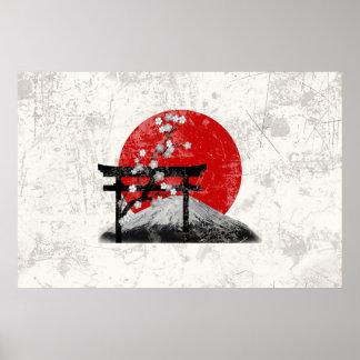 Pôster Bandeira e símbolos de Japão ID153