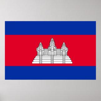Pôster Bandeira nacional do mundo de Cambodia